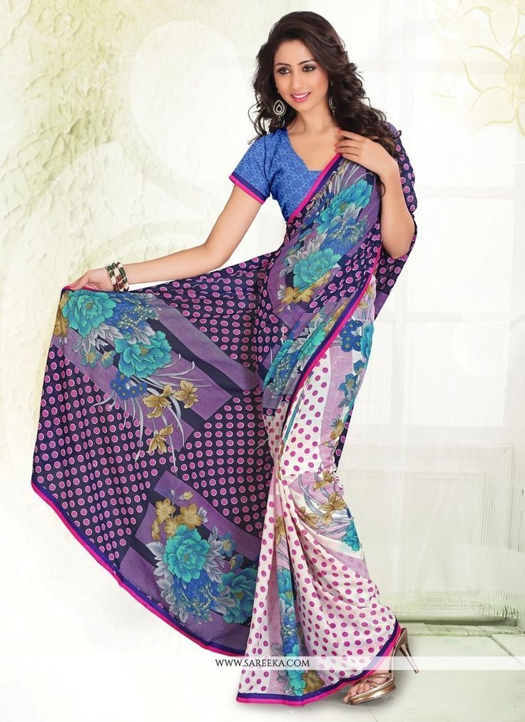 Vogue and pattern would be on the peak of your elegance after you dresses this multi colour faux chiffon casual saree. Look ravishing clad in such a attire which is enhanced print work. Comes with mat...