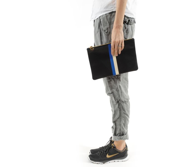 black with blue and white stripes flat clutch by clare vivier & Nikes