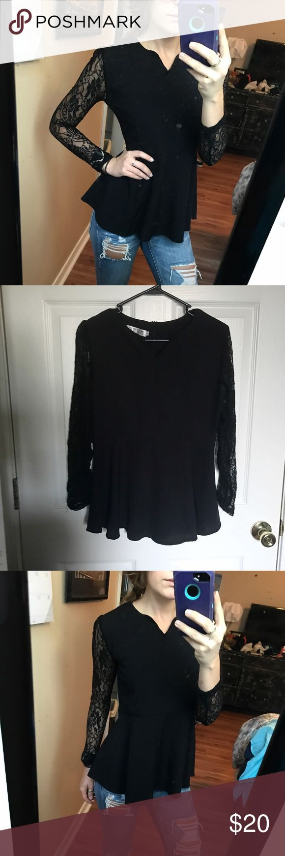 Black peplum top Long sleeve lace peplum fit top, size medium!   ‪No holes or stains.‬ ‪No trades.‬ ‪Bundle for discounts! ‬ ‪Or shoot me an offer!!‬ Tops Blouses