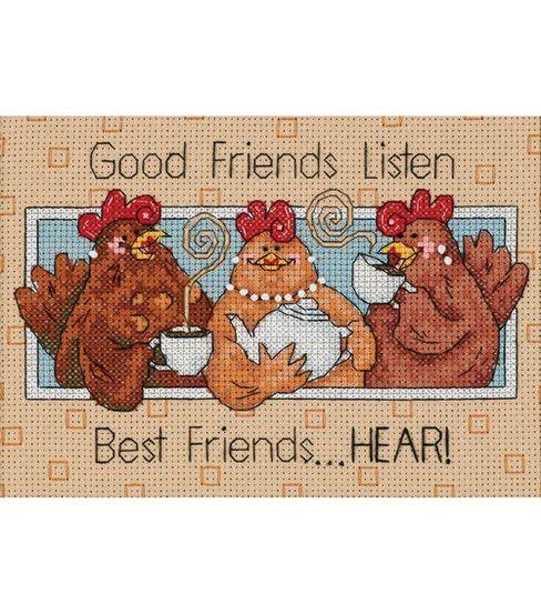 Dimensions Good Friends Listen Mini Counted Cross Stitch Kit-7''X5''