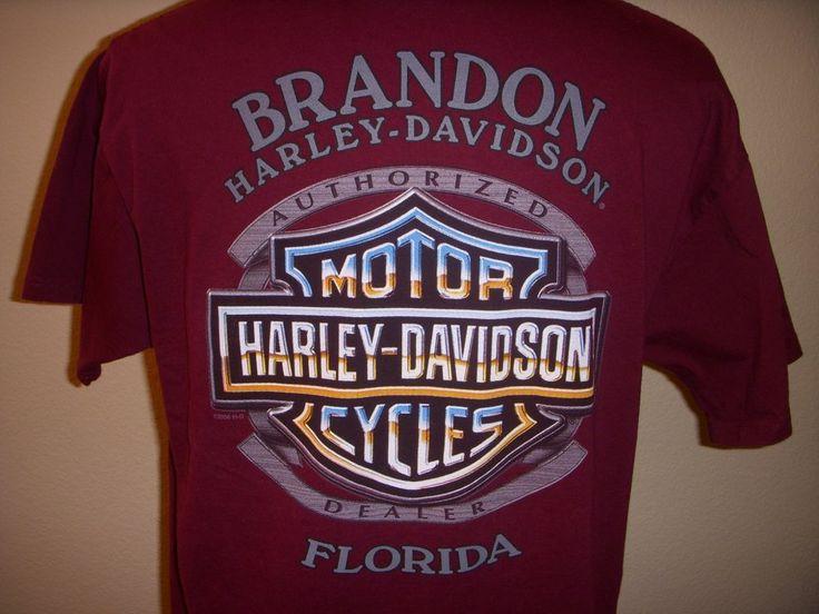Harley Davidson Motorcycles Brandon Florida Dealer Burgandy T-shirt Large