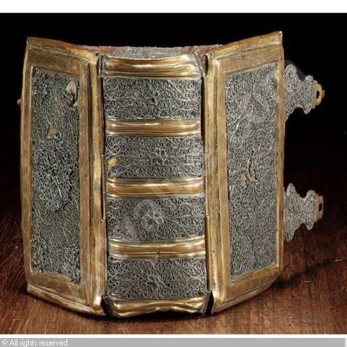 17th c copper-gilt and silver filigree book binding