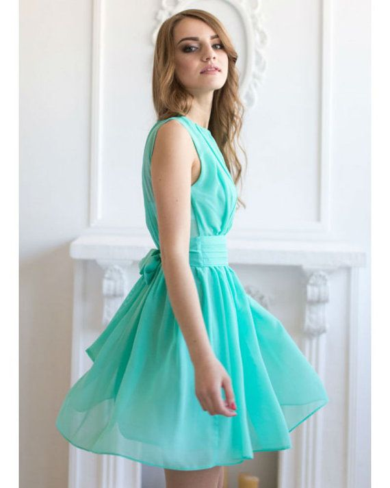 Cocktail dress Aqua Mint Short dress by StylishLadiesShop on Etsy