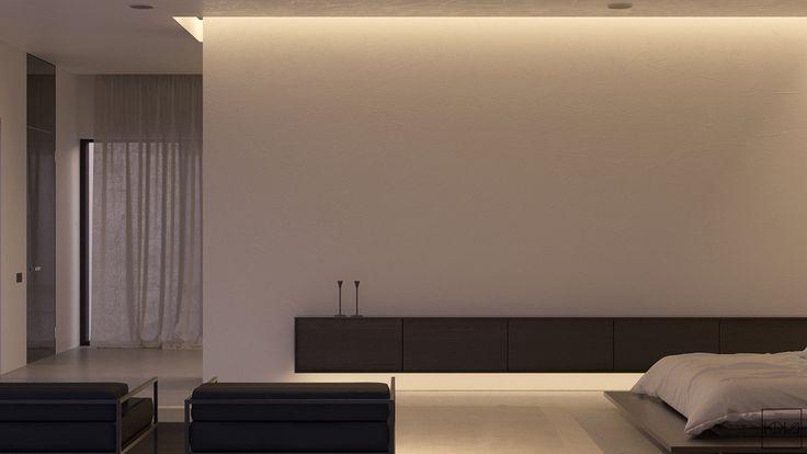 κομψό μαύρο-ντουλάπια-μακρύ-ορθογώνιο σχήμα-καναπέ-υπνοδωμάτιο