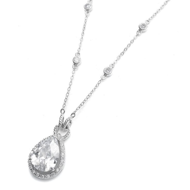 Delicate inlaid CZ stones with a bold pear-shaped Cubic Zirconia solitaire create a wedding necklace which is sleek and sophisticated.