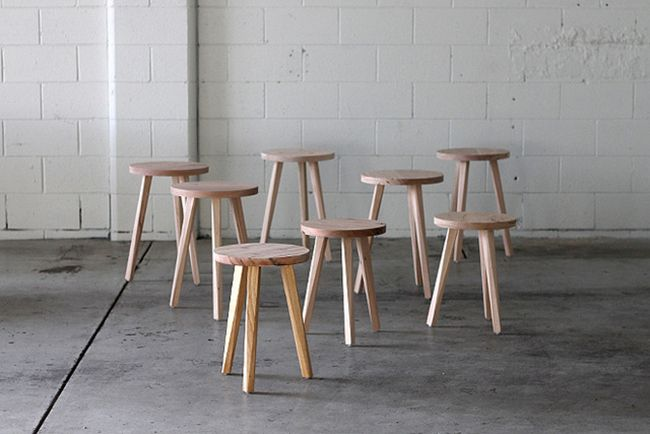 Justin Hermes simple furniture design from salvaged materials