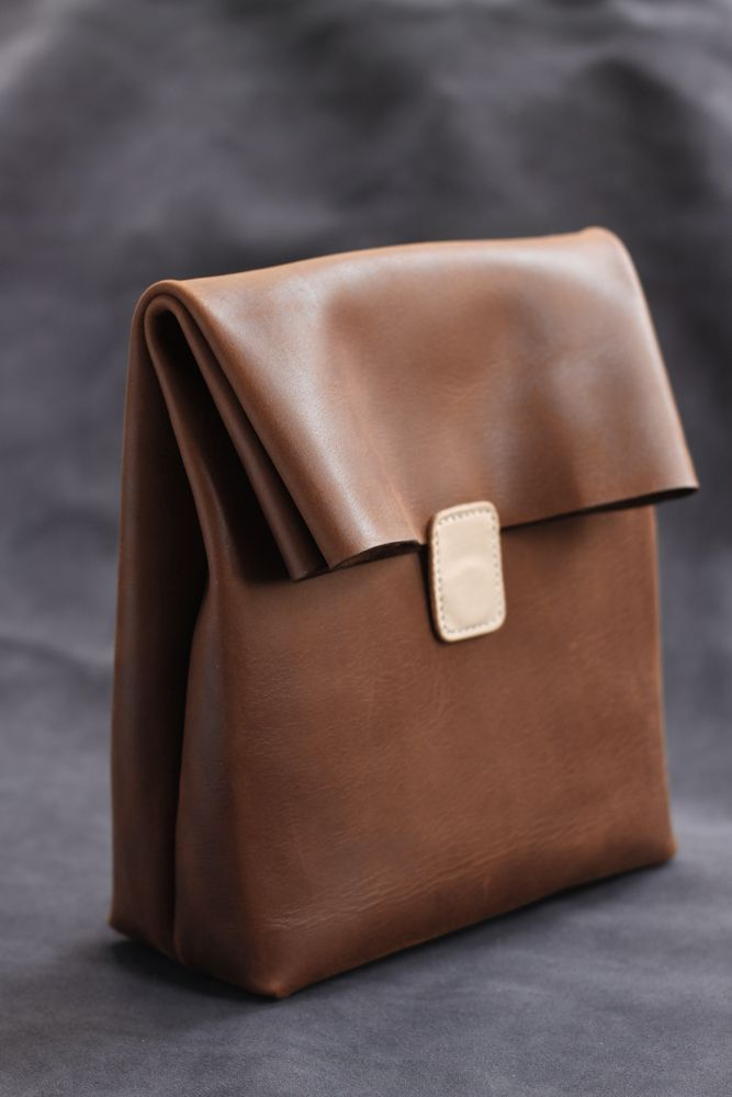 Jubilee Green Leather Handmade paper bag type leather hand bag Coffee color / vegetable tanning color without spot to book