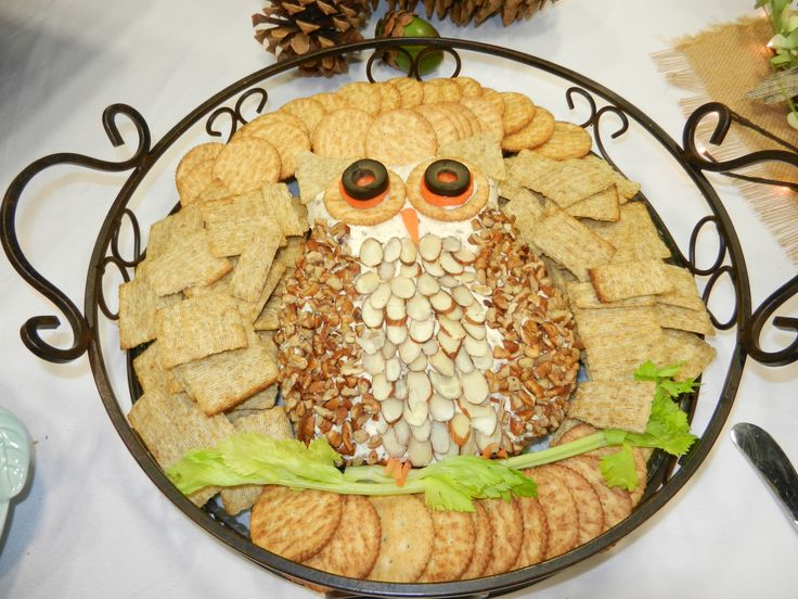 "Woodland themed baby shower food - owl cheese ""ball"""
