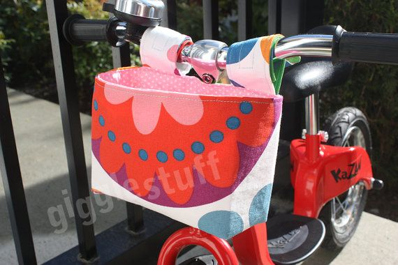 Girls Flower Bike Basket, Kids Handlebar Basket, Bag for Balance Bike, Scooter, Fabric Bucket -- Custom Order