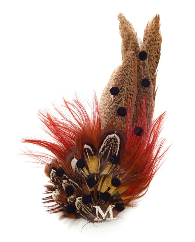 maison michel pheasant feather hairclip