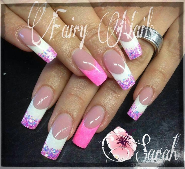 pink and white with accent pink nails  #elegant #bridal #nail design