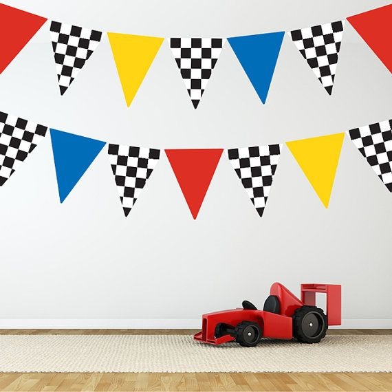 Race Car Flags Wall Decal Stickers, Removable and Reusable 58.00