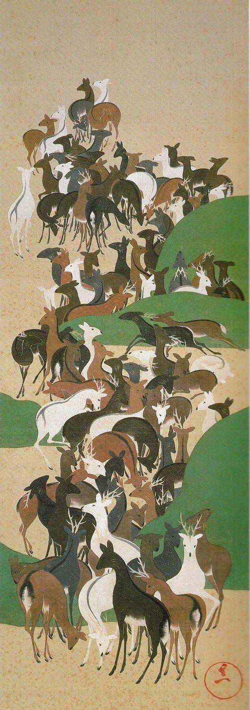 Deer scroll. Image only 群鹿図(寿老寿鶴・群鹿・群鶴図) 鈴木其一 Suzuki Kiitsu.                                                                                                                                                                                 もっと見る
