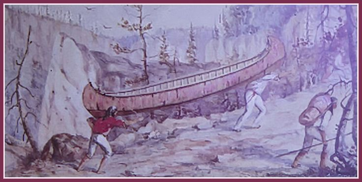 Canoe portage on the Nipigon River [northern Ontario] by artist William Wallace Armstrong - watercolour ca1860s