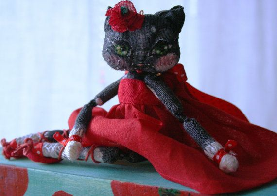 Poppy the cat OOAK Art Doll Fabric Cat by BlackCatCreativeStd