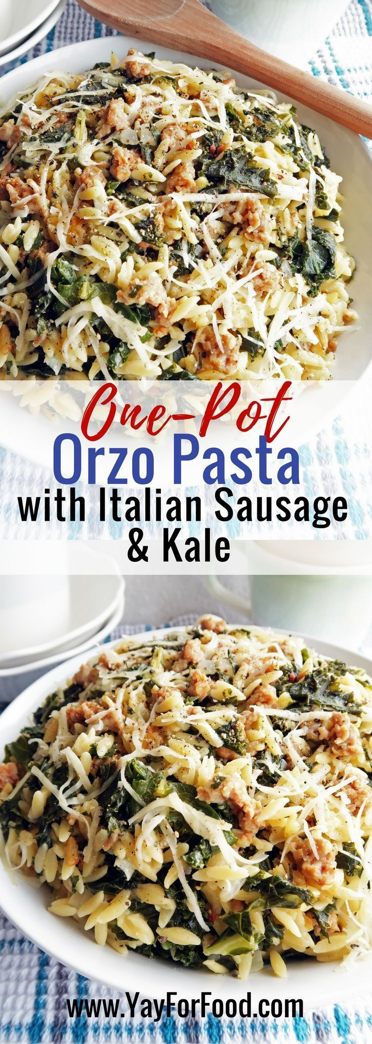 Creamy and Cheesy Orzo Pasta with Italian Sausage and Kale. A delicious, easy, and filling meal that's made in one pot and ready in 30 minutes or less! Main Dishes | One-Pot Recipes
