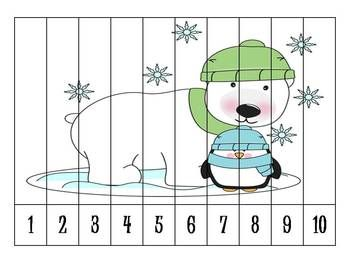 Here's a set of 6 different winter themed number order puzzles.