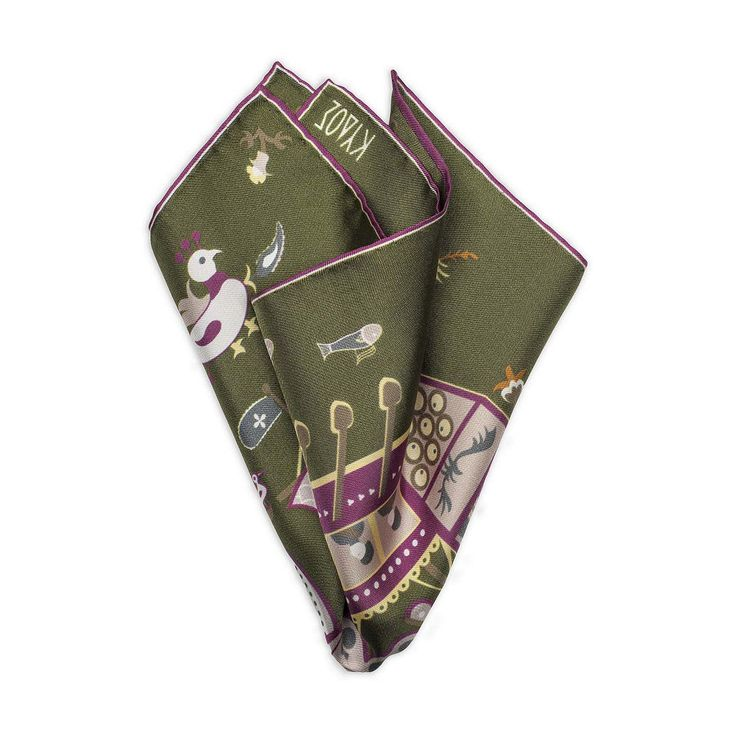 Green Silk Pocketsquare Skyriana