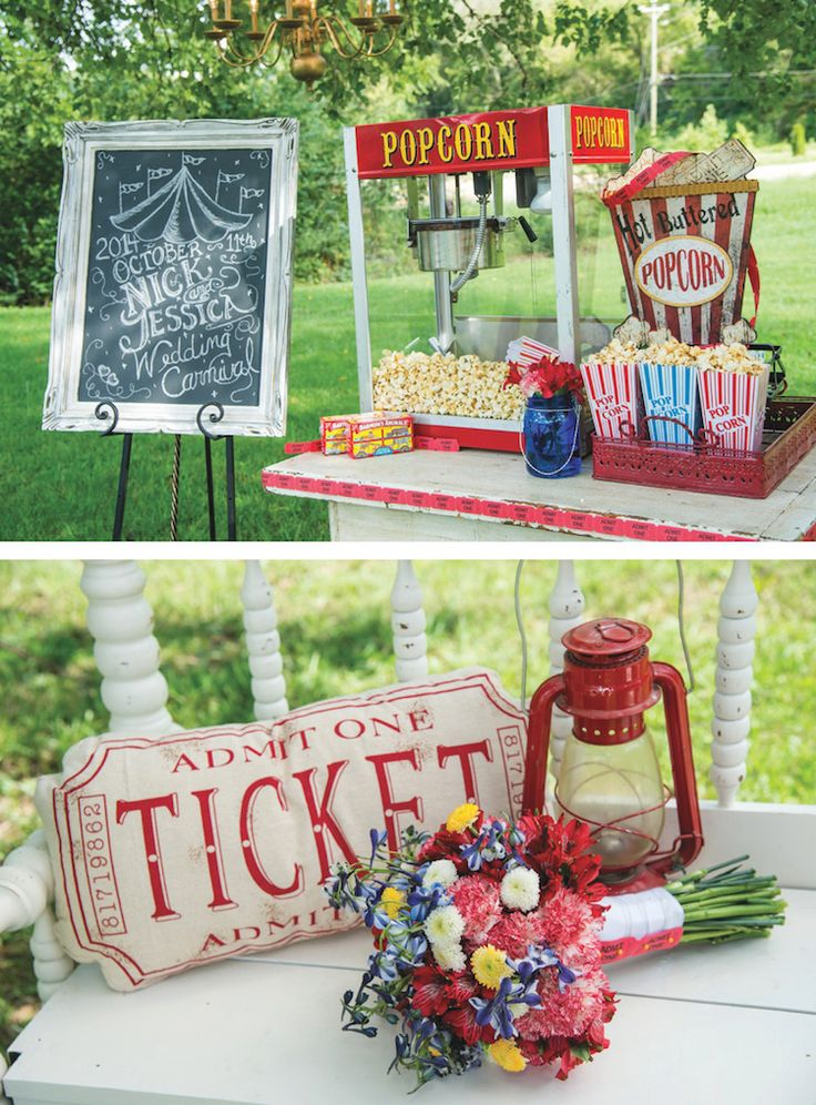 Fun vintage popcorn machine and chalkboard sign! View more from this fun carnival-themed Nashville wedding inspiration by @tifflenisephoto with Ace Photography at Drakewood Farm. Gown via @glitznashville, formalwear by @streettuxedo, rentals by @grandcentralinc | The Pink Bride® www.thepinkbride.com