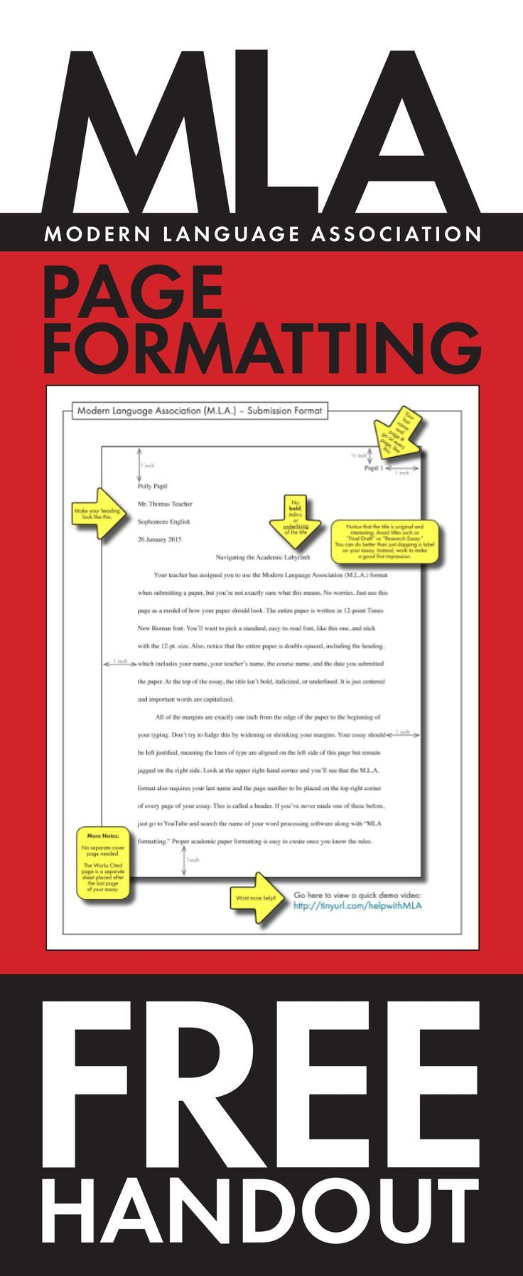 FREE handout to help your high school students master MLA formatting.
