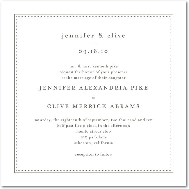 Modern Wedding Invitations - Pure Style:TH Charcoal... Love this clean front with chevon on back.