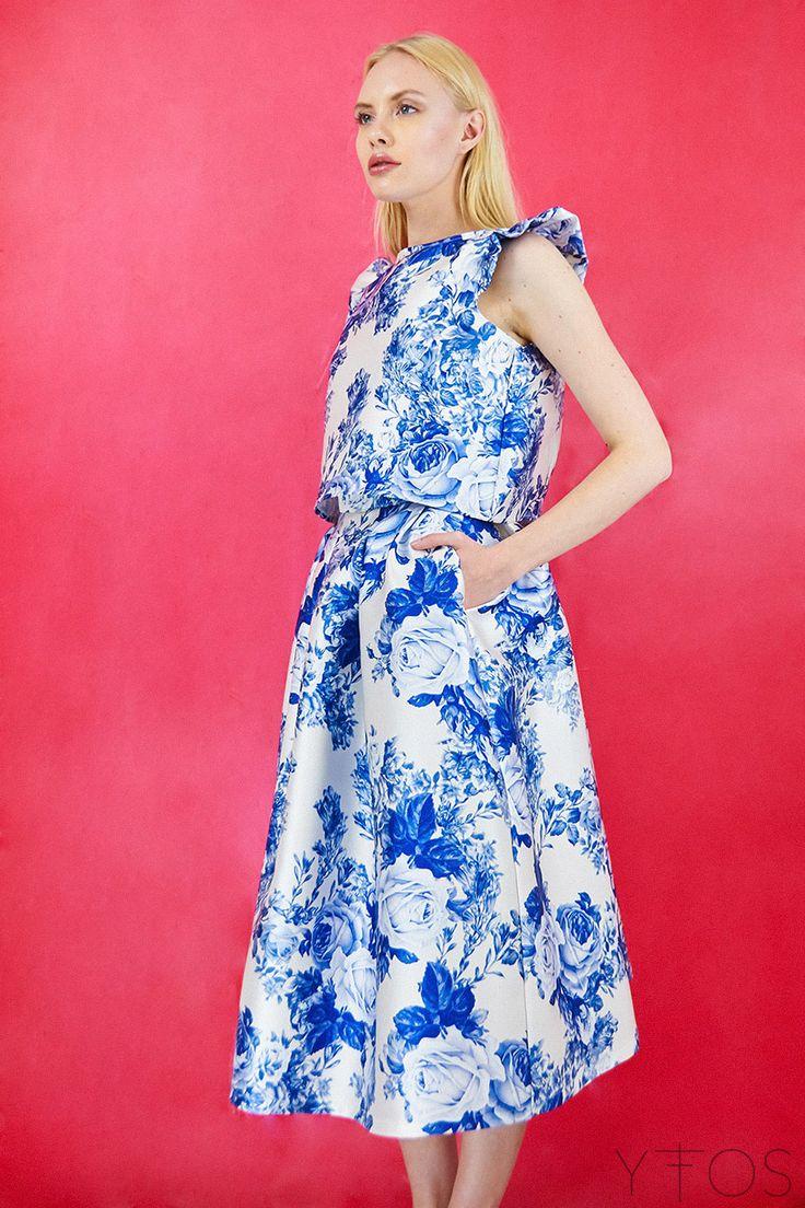 Yfos Online Shop | Clothes | Skirts | Blue Roses Midi Skirt by Milkwhite