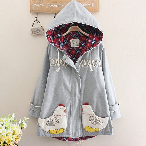 Style:sweet japanese,lace hooded,cute coat,chicken caot,cute hoodie Color:gray,green,dark blue Fabric material:cotton blend  Size:one size Shoulder:41cm/16.14 Bust:104cm/40.94 Sleeve length:56cm/22.04 Length:74cm/29.13~77cm/30.31  Tips: *Please double check above size and consider your mea