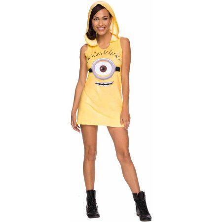 Minions Movie Minion Hooded Women's Adult Halloween Costume, Size: Small, Yellow