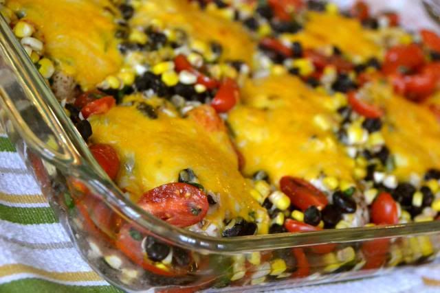 Fiesta Chicken: bake s/p chicken breasts 30-40 minutes. Salsa: corn, cherry tomatoes, cilantro, cumin, lime juice, black beans, s/p. Pour over chicken, top with mexican cheese and broil.
