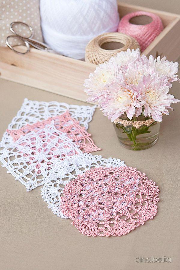 Crochet lace motifs free patterns by Anabelia Craft Design 🌸 #anabelia #crochetlace #crochetmotif #crochetpattern #freepattern