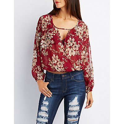 Multi Floral Split Sleeve Surplice Top - Size XS