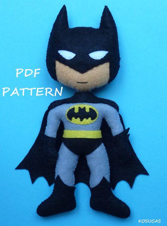 PDF pattern to make a felt Batman. by Kosucas on Etsy