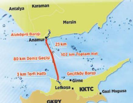 """Kıbrıs'a can suyu - Takvim - 08 Ağustos 2015  İLK SU 1 AYA AKAR  Eroğlu, kıyıdan kıyıya toplam boru uzunluğunun 80 kilometre olduğunu belirterek, şöyle konuştu: """"Alaköprü ve Geçitköy'deki 2 baraj arası hesaba katıldığında rakam 107 kilometreye çıkıyor. Boru hattı yıllık 75 milyon metreküp su taşıyacak. 38 milyonu içme suyu olarak, 37 milyonu tarımsal faaliyetlerde kullanılacak. Finansmanı toplam 1.6 milyar TL'ye mal oldu."""