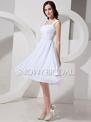 Summer Casual A-Line Petite Short Chiffon Sleeveless Wedding Dress - US$ 90.89 - Style W0474 - Snowy Bridal