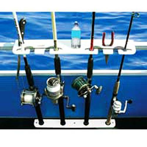 TACO Deluxe 4-Rod Pontoon Boat Tackle Rack - White