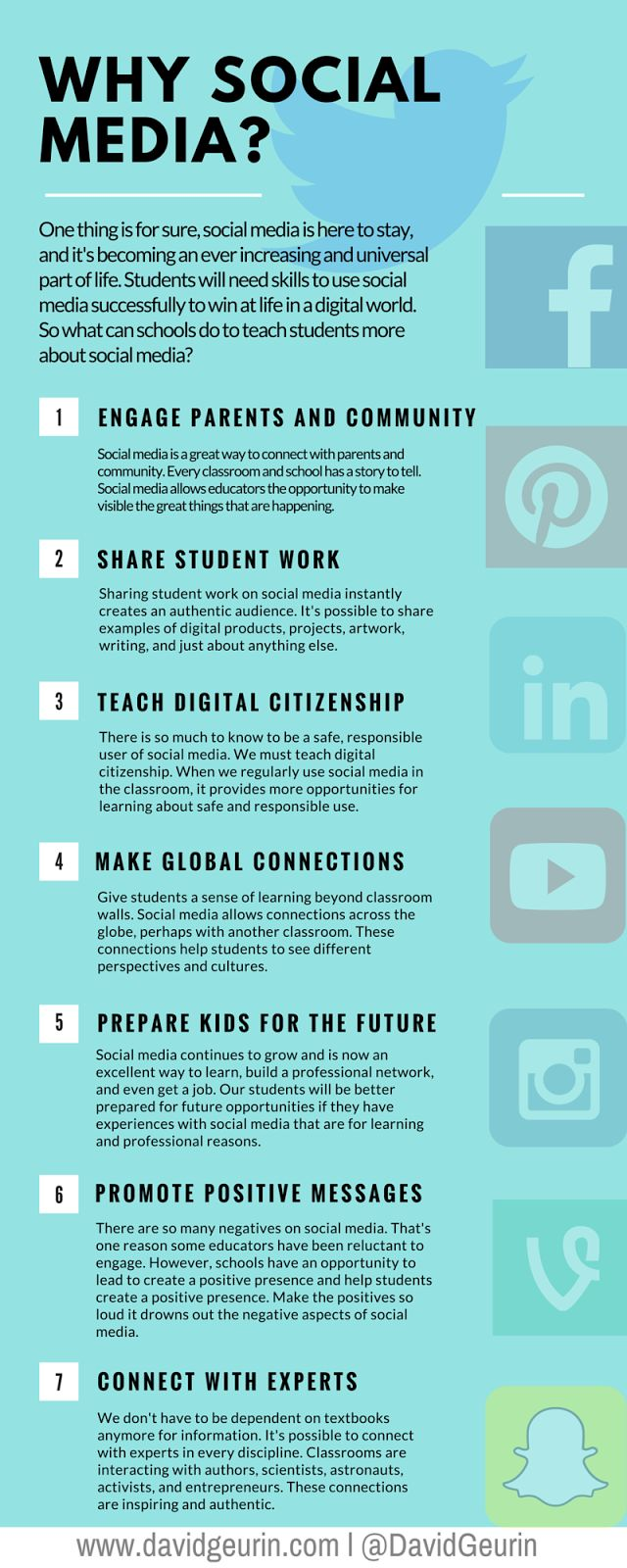 The @DavidGeurin Blog: 7 Reasons To Use Social Media In Your School (INFOGRAPHIC) | One thing is for sure, social media is here to stay. Never before have people been able to connect, share, and learn from one another as we do now. I can only imagine what might be next! As a result, our students need skills to win at life in a digital world. The ability to use social media to support life goals and possibilities can be a game-changer.