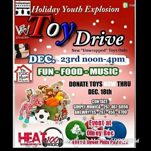Donate toys now thru December 18th drop off locations are at Sturgis Playground 200-220 W 65th Ave Phila Pa and Heat100radio 8325 Stenton Ave Phila Pa.  Event date is December 23rd from 12:00pm - 4:00pm at Olney Recreation Center 6001 A Street  All children must be registered to receive gifts so no child is missed during the gift giving process  #philly #angwrytes #ssbreeze #tkdre #poets #poetry #spoken word #radio #underground #iheart #music #poets #rappers #hosts #comedians #writers…