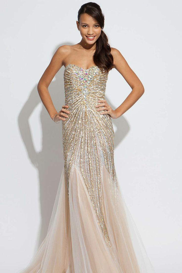Long jovani strapless beaded dress gorgeous evening gown for Long strapless wedding dresses