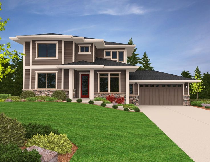 Beautiful Prairie Northwest Modern home set up for s slightly side sloping lot with view to the rear. An open concept main floor with large open island ki