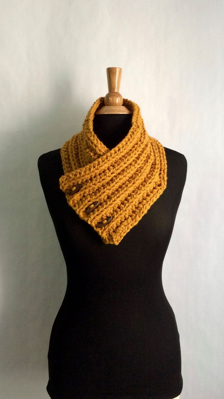 Wrap Scarf - Mustard Yellow - button wrap - Crochet Cowl - Boston Harbor Scarf - Mustard Crochet Scarf - Circle Scarf - Chunky Infinity by BrittanysChikBoutik on Etsy