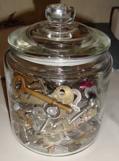 Bunch of KEYS - love this idea to display them in a glass jar -: