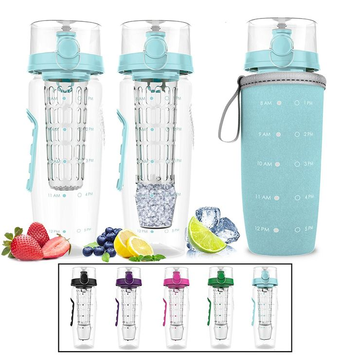 Bevgo Infuser Water Bottle – Large 32oz Hydration Timeline Tracker Detachable Ice Gel Ball With Flip Top Lid Quit Sugar Save Money Multiple Colors with Recipe Gift Included Light Blue