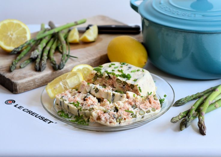 An elegant and tasty terrine with hot smoked salmon and fresh asparagus, this terrine cooks in in a Le Creuset casserole dish which is used as a bain-marie for perfect and even heat retention. Serve this as a starter with salad, or as a light lunch with salad and crusty bread. This delightful terrine is also wonderful for picnics and as a luxury sandwich filling.