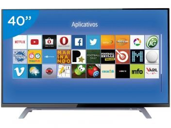 "Smart TV LED 40"" Toshiba 40L2500 - Conversor Digital 2 HDMI 1 USB DTVi"