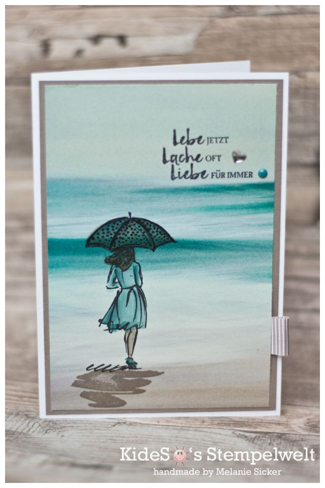 I love this beach theme – substitute any stamped figure. Also look into Kristina Werner's technique for creating waves with zig markers