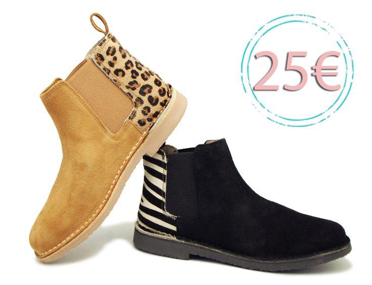 Tienda online de calzado infantil Okaaspain. Calidad al mejor precio fabricado en España. Botín en serraje con elástico y talonera de pelo estampado.