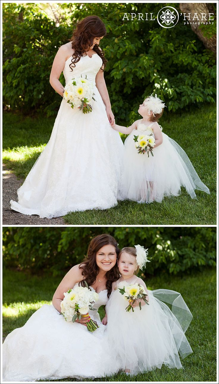A Bride Poses With Her Flower Girl Who Is Wearing Fluffy White Tutu Dress At Wedding Denver Botanic Gardens Chatfield