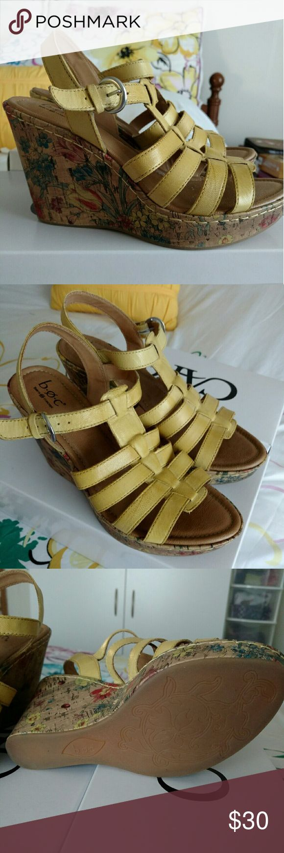 Born Yellow Wedge Sandals Like New. Only worn a few times. Born Shoes