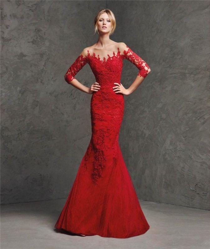 Elegante Transparente Manga Longa De Renda Vermelho Sereia Vestido de formatura formal vestidos de festa de casamento