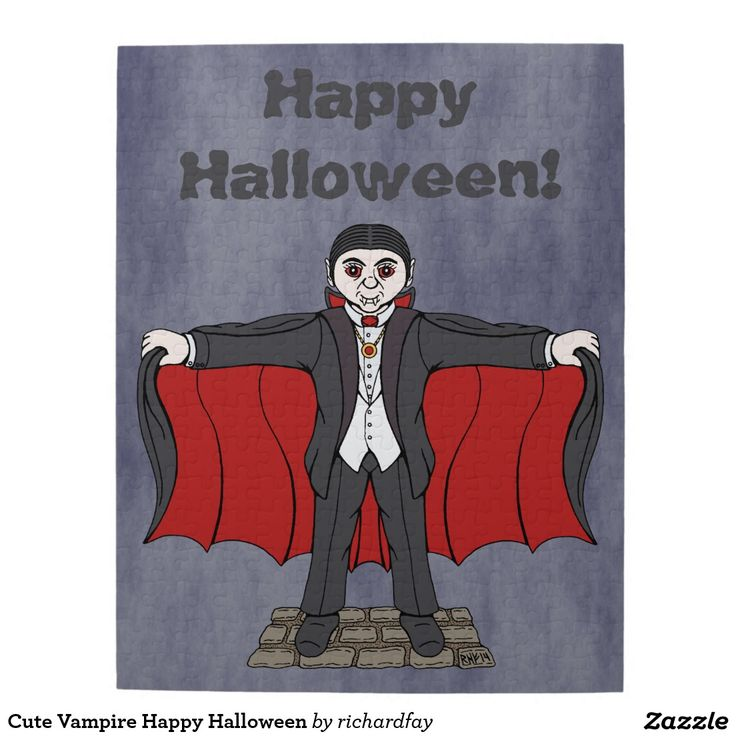 Cute Vampire Happy Halloween Jigsaw Puzzle.  #zazzle #jigsaw_puzzle #puzzle #cute_vampire #cartoon_vampire #cute_Dracula #cartoon_Dracula #vampire #Dracula #Happy_Halloween
